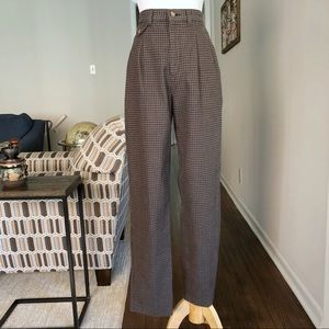 Vintage Lee High Rise Pleated Plaid Trouser